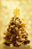 Golden Christmas tree Stock Photography