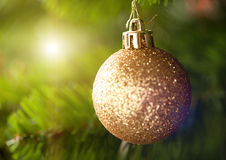 Golden Christmas tree ornament Stock Photo