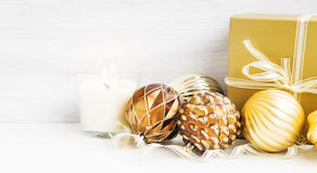 Golden Christmas tree ornaments with pearly balls decoration and Royalty Free Stock Image
