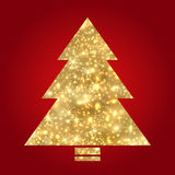 Golden Christmas tree on red background Royalty Free Stock Photos
