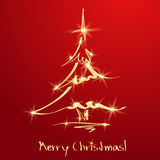 Golden Christmas tree on red background. Sketch Stock Image