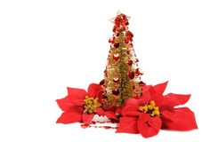 Golden Christmas tree. With red hearts decor, isolated on white Stock Photography