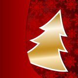 Golden Christmas tree on red snowflake background Royalty Free Stock Photography