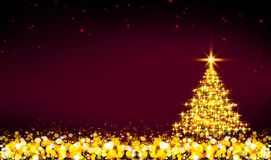 Golden Christmas tree and red star sky. Christmas tree with lights isolated on red star sky background Stock Image