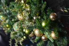 Golden Christmas Tree. Scene Background Stock Images