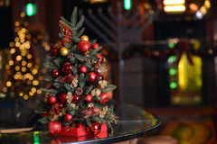 Golden Christmas Tree. Scene Background Stock Photo