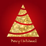Golden Christmas tree. Sketch Stock Images