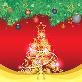 Golden christmas tree with snow on red background. Vector illustration of a golden christmas tree with snow on red background for New Year and Christmas festival Stock Photos