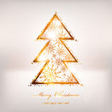 Golden christmas tree. From snowflakes. Vector eps 10 Stock Photo