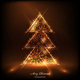 Golden christmas tree. From snowflakes. Vector eps 10 Royalty Free Stock Images