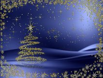 Golden Christmas tree with stars on blue. Sparkling decorated Christmas tree with snowflakes and stardust vector illustration