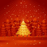 Golden christmas tree,vector. Golden christmas tree in the red forest,vector illustration Stock Photo