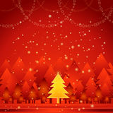 Golden christmas tree,vector. Golden christmas tree in the red forest Royalty Free Stock Photography
