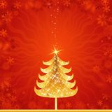 Golden christmas tree, vector Stock Photos