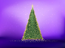 Golden christmas tree on violet. EPS 10 Stock Photo