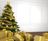 Golden christmas tree in white room Stock Photos