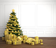 Golden christmas tree in white rrom Royalty Free Stock Images
