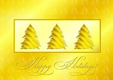 Golden Christmas Trees Stock Photo