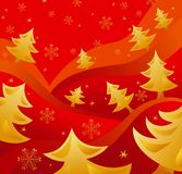 Golden christmas trees Royalty Free Stock Photos