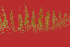 Golden Christmas Trees. An illustrated background of golden Christmas trees on a red color Vector Illustration