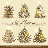 Golden Christmas trees. Stock Images