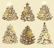 Golden Christmas trees. Stock Photography