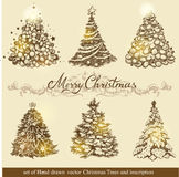 Golden Christmas trees. Royalty Free Stock Images