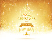Golden Christmas typography with stars and lights Stock Photos