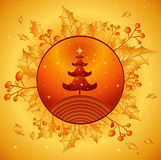 Golden christmas,vector. Christmas tree on the golden background,vector illustration Stock Photography