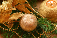 Golden Christmas wreath Royalty Free Stock Images