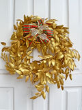 Golden christmas wreath Royalty Free Stock Image