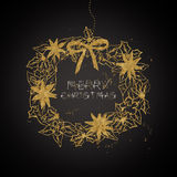 Golden Christmas wreath Royalty Free Stock Photo