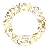 Golden Christmas wreath of holiday elements Isolated on a white background. New Year elements for design of cards, congratulations