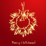 Golden Christmas wreath on a red background Royalty Free Stock Photos