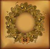 Golden Christmas wreath. Vector illustration. Stock Image