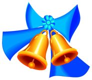 Golden Christmass bells with ribbon Stock Photos