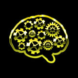 Golden chrome brain with gears. Think design over black background vector illustration Stock Photos
