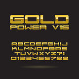 Golden Chrome Font and Numbers, Eps 10 Vector, Edi Royalty Free Stock Images