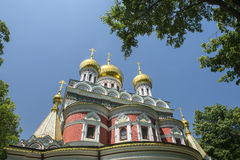 Golden church domes. Reflecting sunlight Stock Images