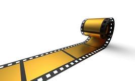 Golden cinema film. 3d illustration of golden cinema film with blank frames, white background royalty free stock photos