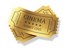 Golden cinema tickets with shadow  on white background Stock Images