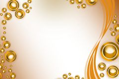Golden circle ans wave, abstract background Stock Photography
