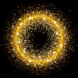 Golden circle bright sequins. Sparkle circle. Template for Christmas design, invitations, gift, VIP design, flyer. Certificate Vector illustration Royalty Free Stock Photos