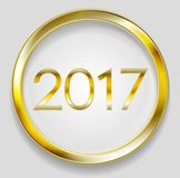 Golden circle button with 2017 Royalty Free Stock Images