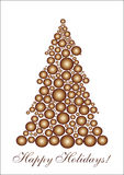 Golden circle Christmas tree. Background for your greetings card, vector illustration, see more at my portfolio Stock Images