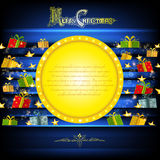 Golden circle frame on blue christmas background with golden stars and presents Stock Image