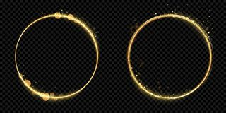 Golden circle frame gold glitter light particles vector shiny sparkling black background royalty free illustration