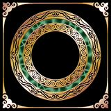 Golden circle frame Stock Photos