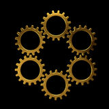 Golden circle of gears Royalty Free Stock Image