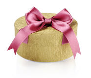 Golden circle gift box Royalty Free Stock Image